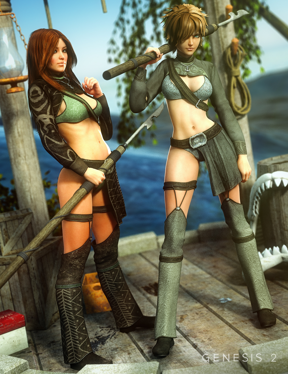 Harpoon Girl Outfit Textures by: Sarsa, 3D Models by Daz 3D