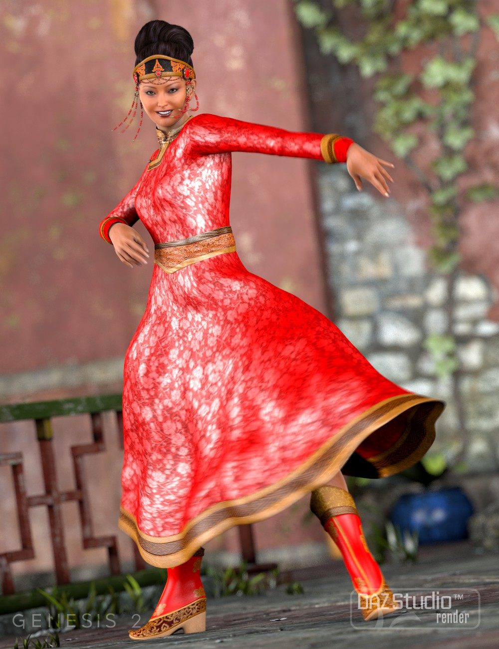 Mongolian Beauty-Clothes by: 3D-GHDesign, 3D Models by Daz 3D