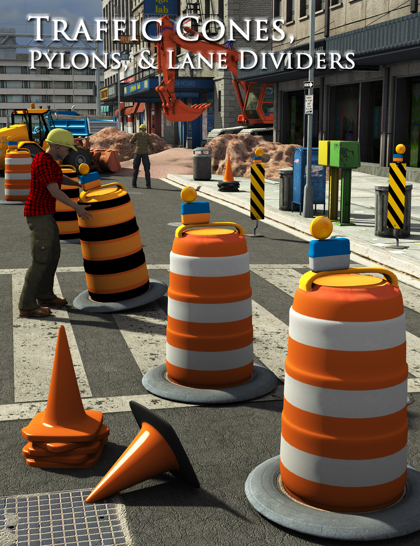 Traffic Cones, Pylons, and Lane Dividers by: FirstBastion, 3D Models by Daz 3D