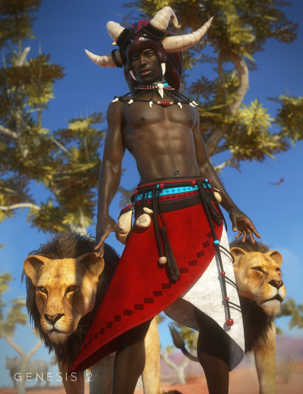 Witch Doctor for Genesis 2 Male(s) by: ArienMada, 3D Models by Daz 3D