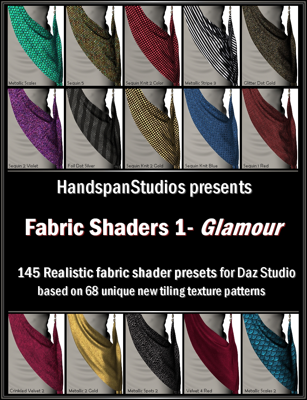 HSS Fabric Shaders 1-Glamour by: Handspan Studios, 3D Models by Daz 3D
