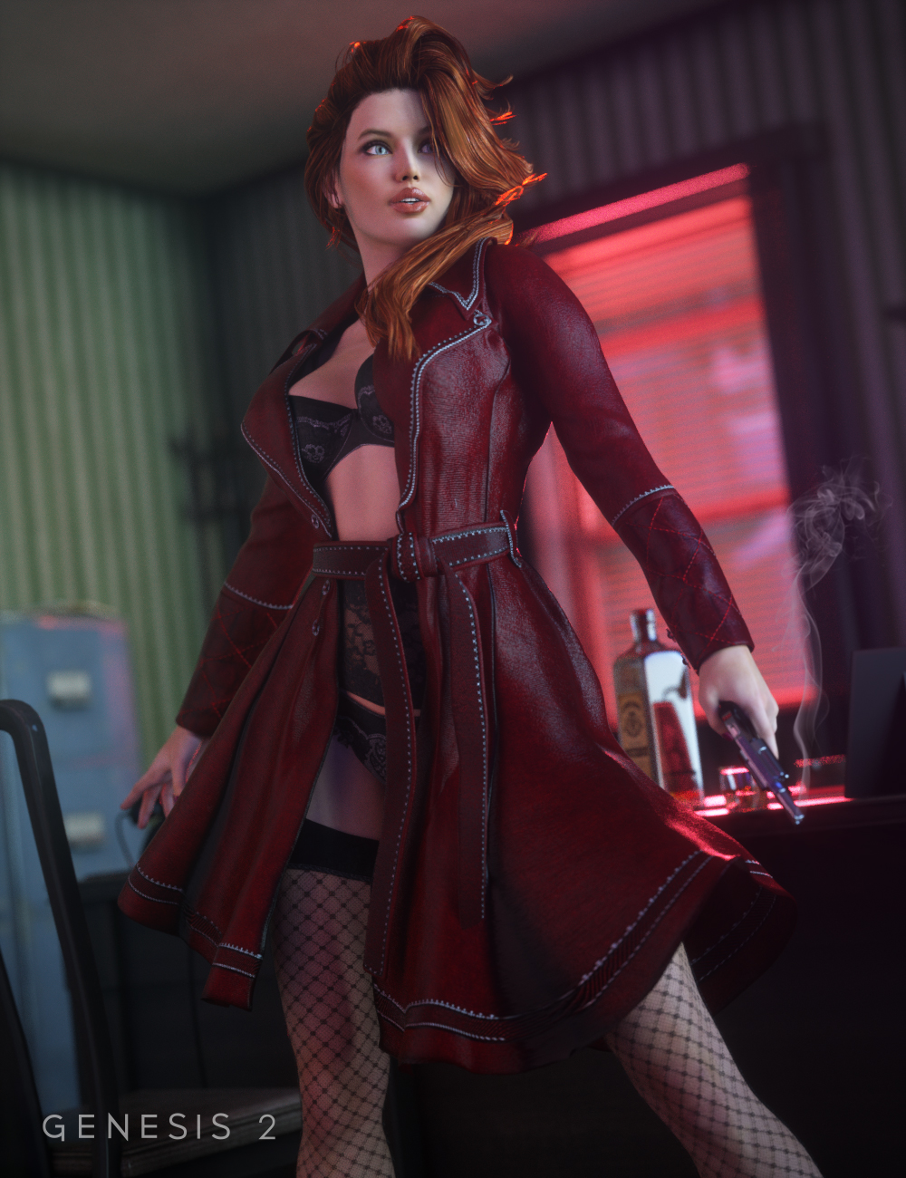 Sinful Nights Lingerie and Overcoat for Genesis 2 Female(s) by: SarsaUmblefugly, 3D Models by Daz 3D