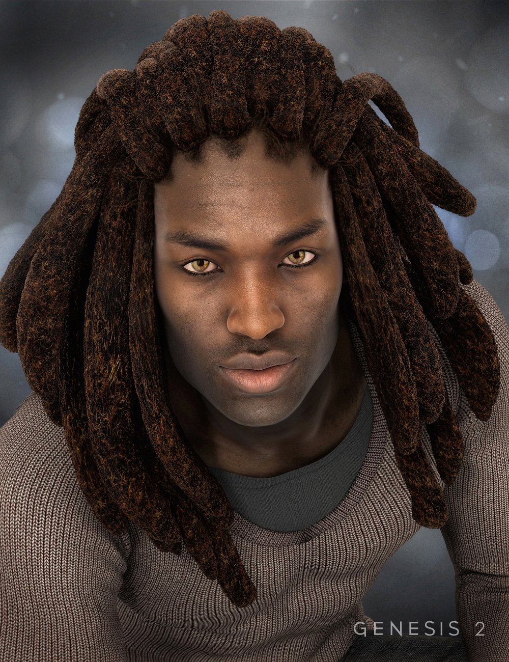 Messy Dreads for Genesis 2 Male(s) by: 3DCelebrity, 3D Models by Daz 3D