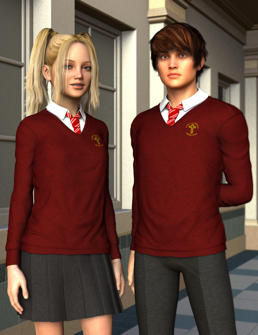 Time for School Sweater for Genesis 2 by: Dogz, 3D Models by Daz 3D
