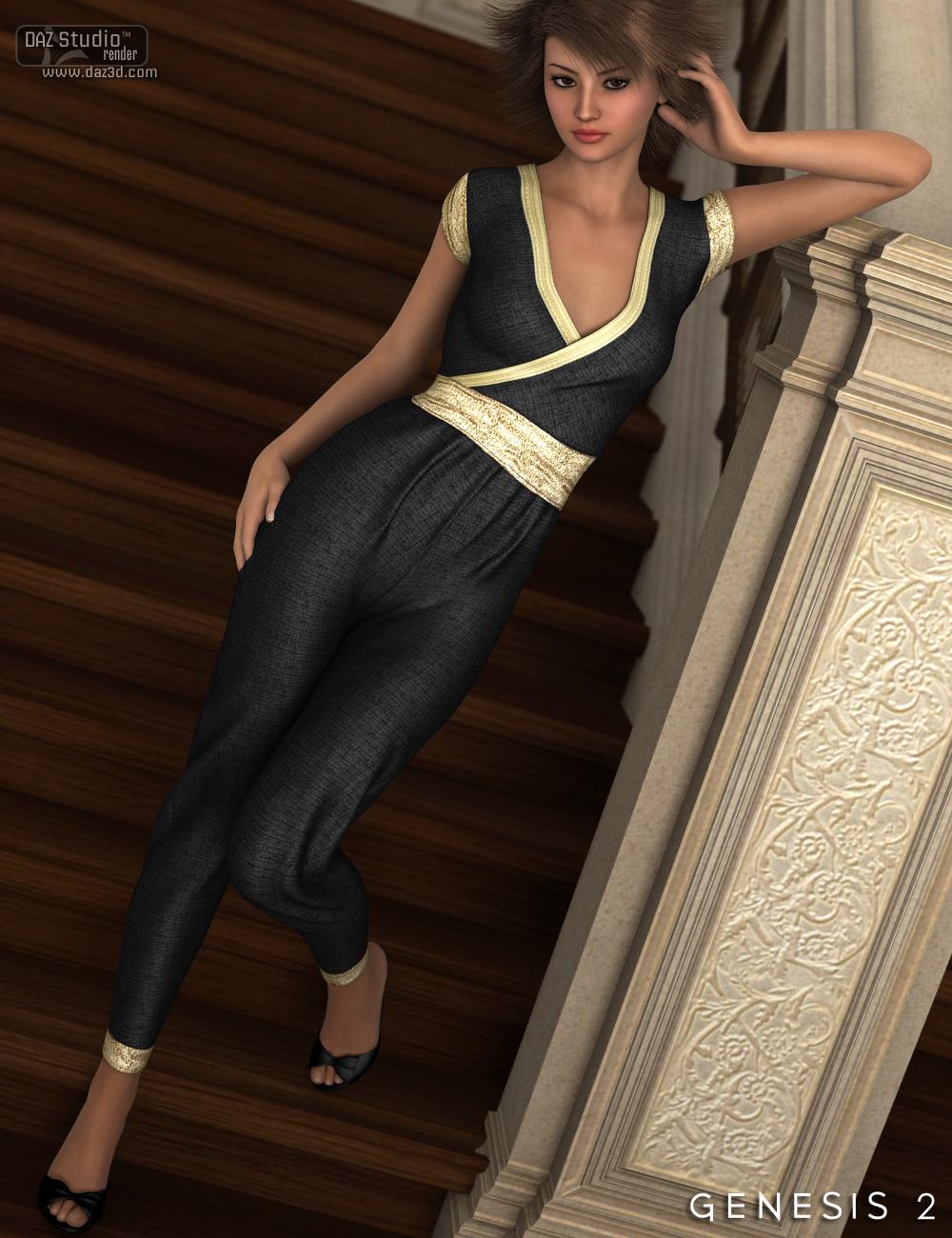 Ashleigh Jumpsuit for Genesis 2 Female(s) by: Nikisatez, 3D Models by Daz 3D