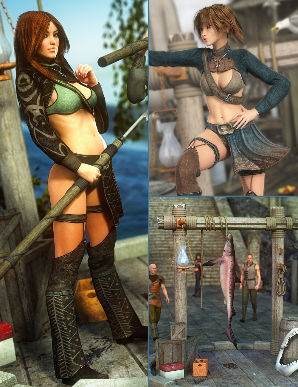Harpoon Girl Bundle by: , 3D Models by Daz 3D