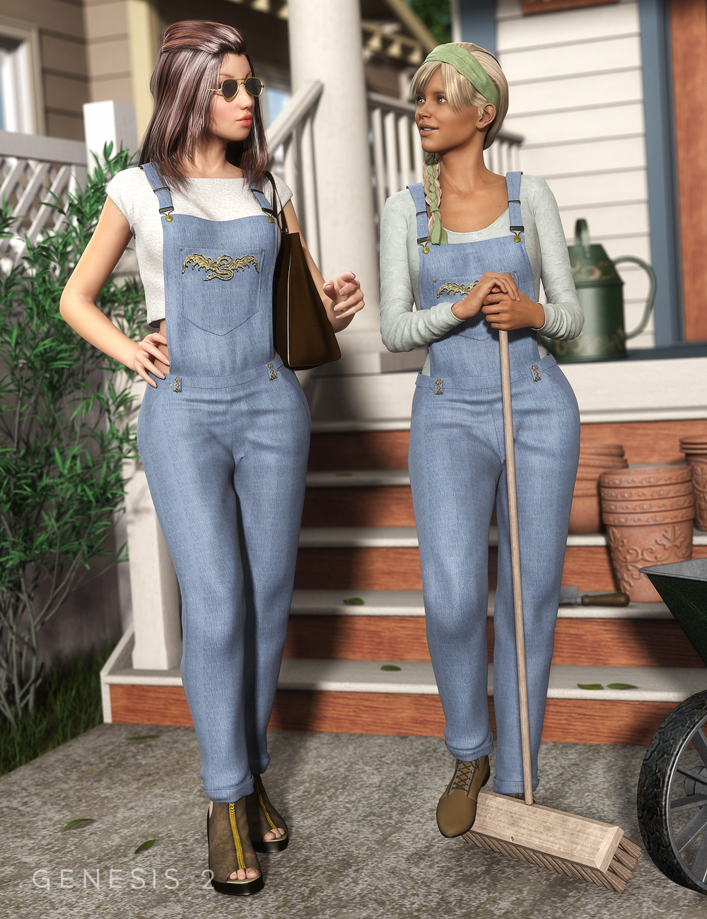 Casual Wear Overall for Genesis 2 Female(s) by: Ravenhair, 3D Models by Daz 3D