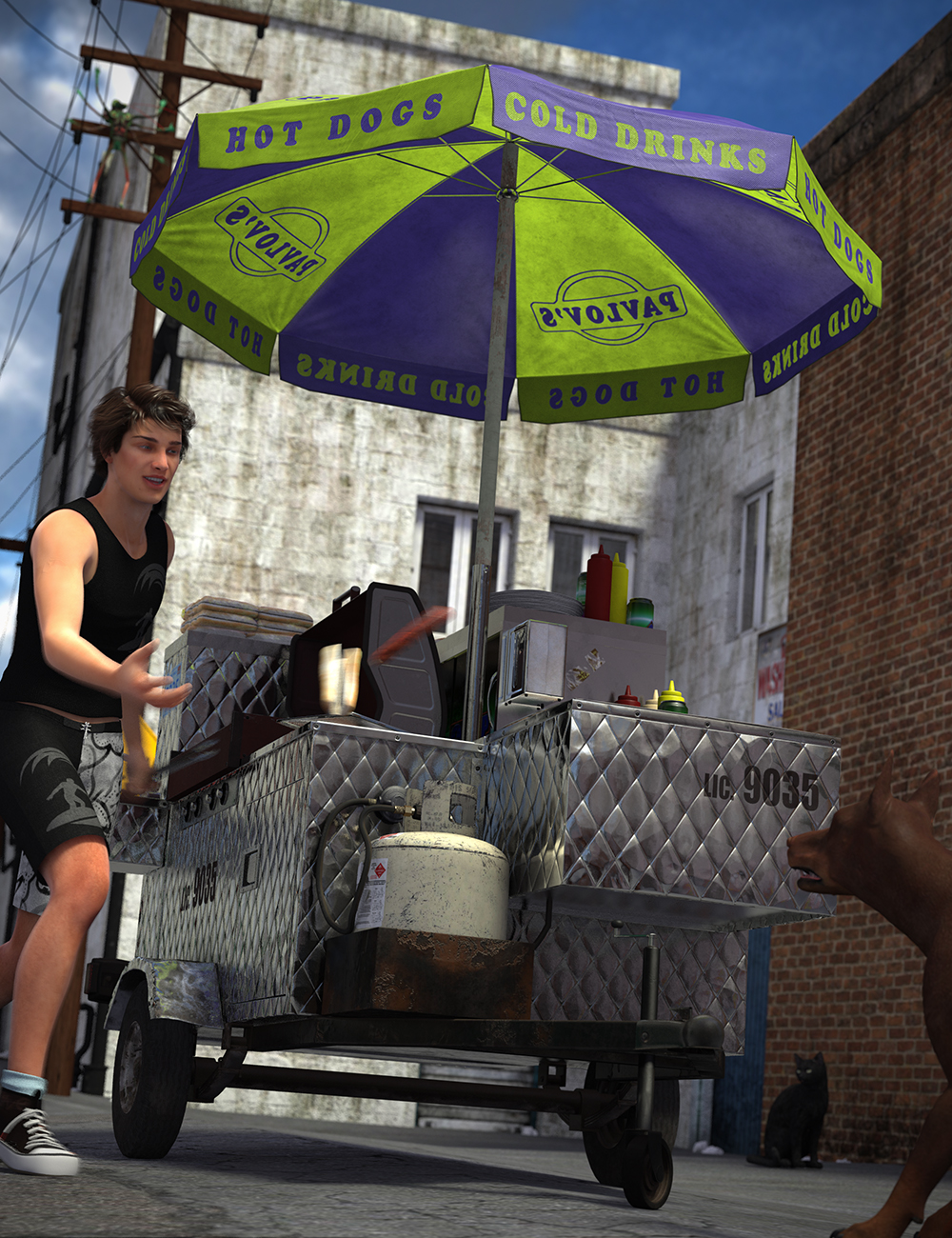 Hot Dog Cart by: Hole, 3D Models by Daz 3D