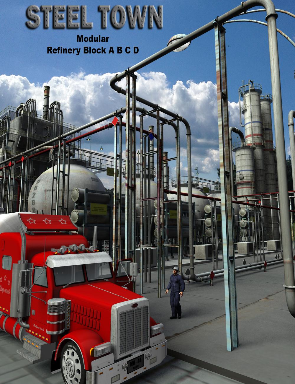 Steel Town Refinery Bundle by: DarkMatter, 3D Models by Daz 3D