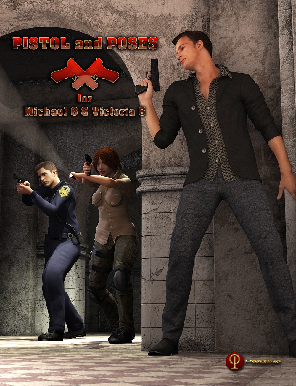 Pistol and Poses for Michael 6 and Victoria 6 by: Porsimo, 3D Models by Daz 3D