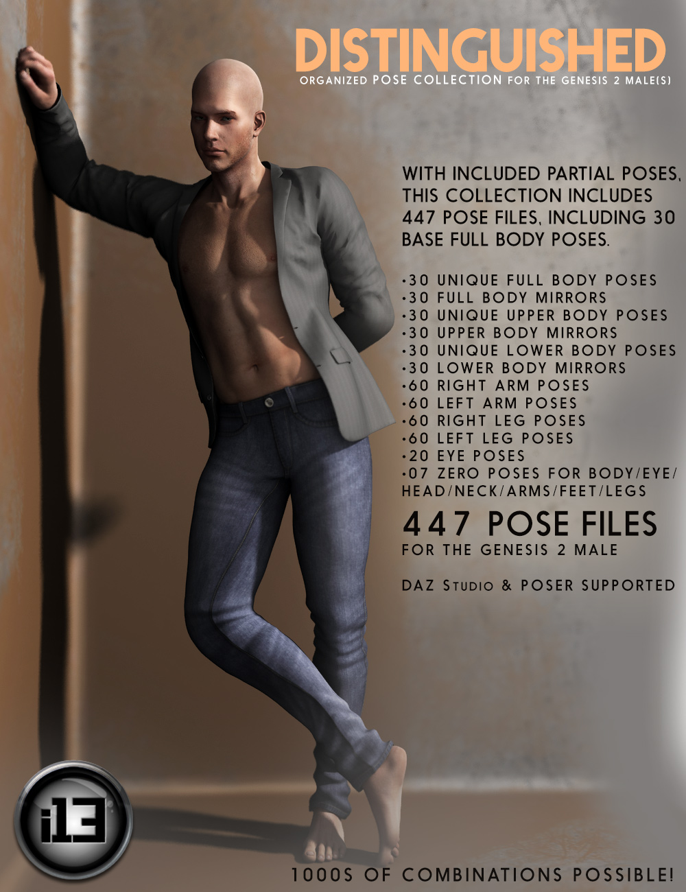 i13 DISTINGUISHED Pose Collection by: ironman13, 3D Models by Daz 3D
