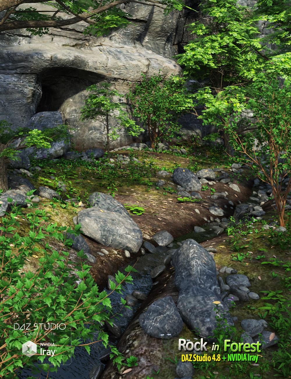 Rock in Forest by: Andrey Pestryakov, 3D Models by Daz 3D