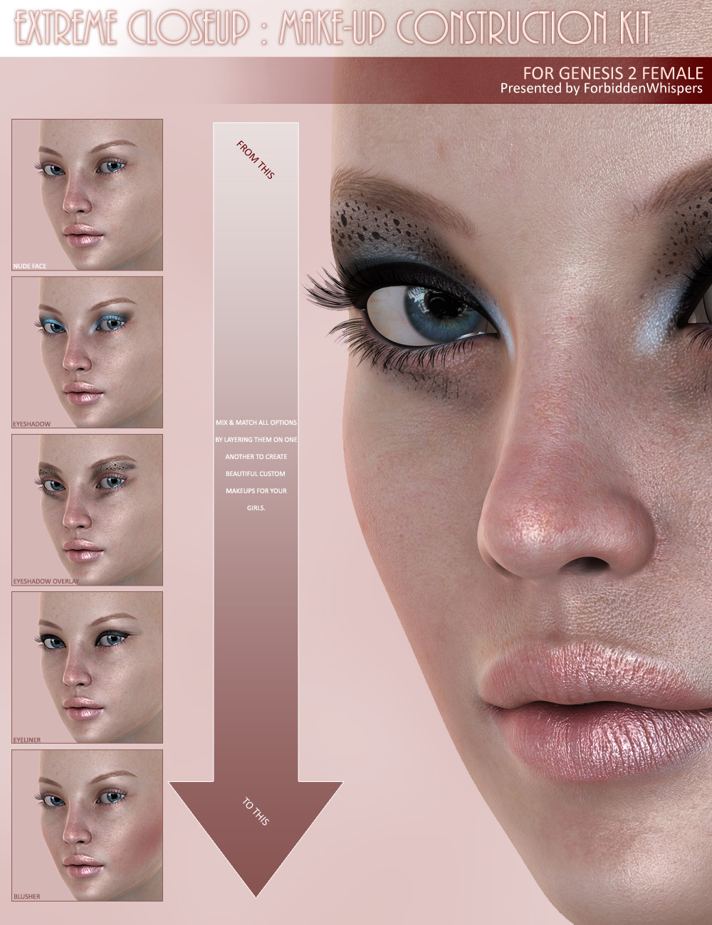 Extreme Closeup: Makeup for Genesis 2 Female(s) by: ForbiddenWhispers, 3D Models by Daz 3D