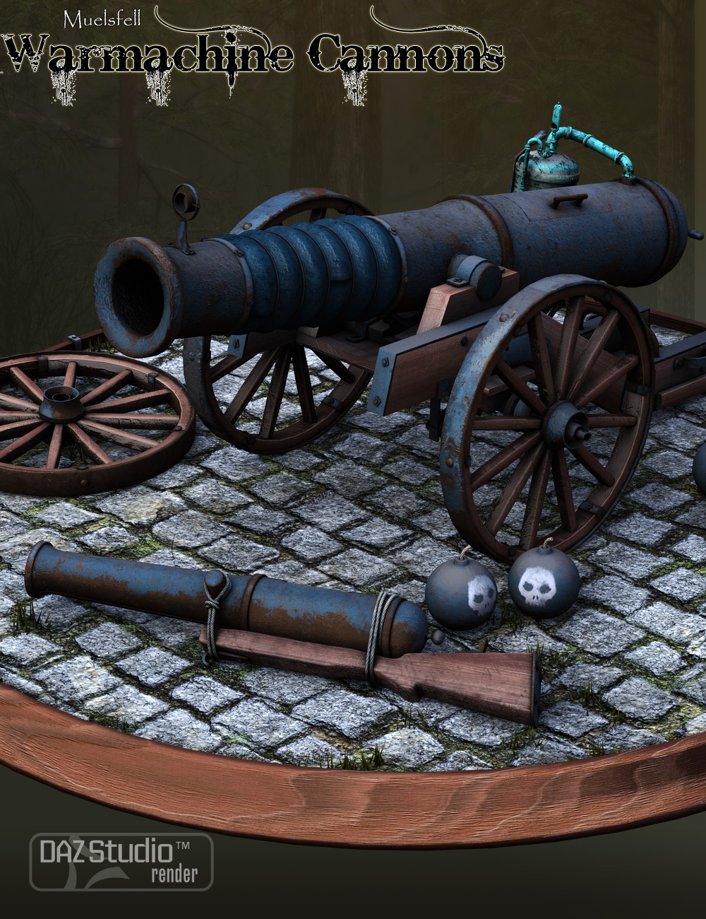 Muelsfell Warmachine Cannons by: E-Arkham, 3D Models by Daz 3D