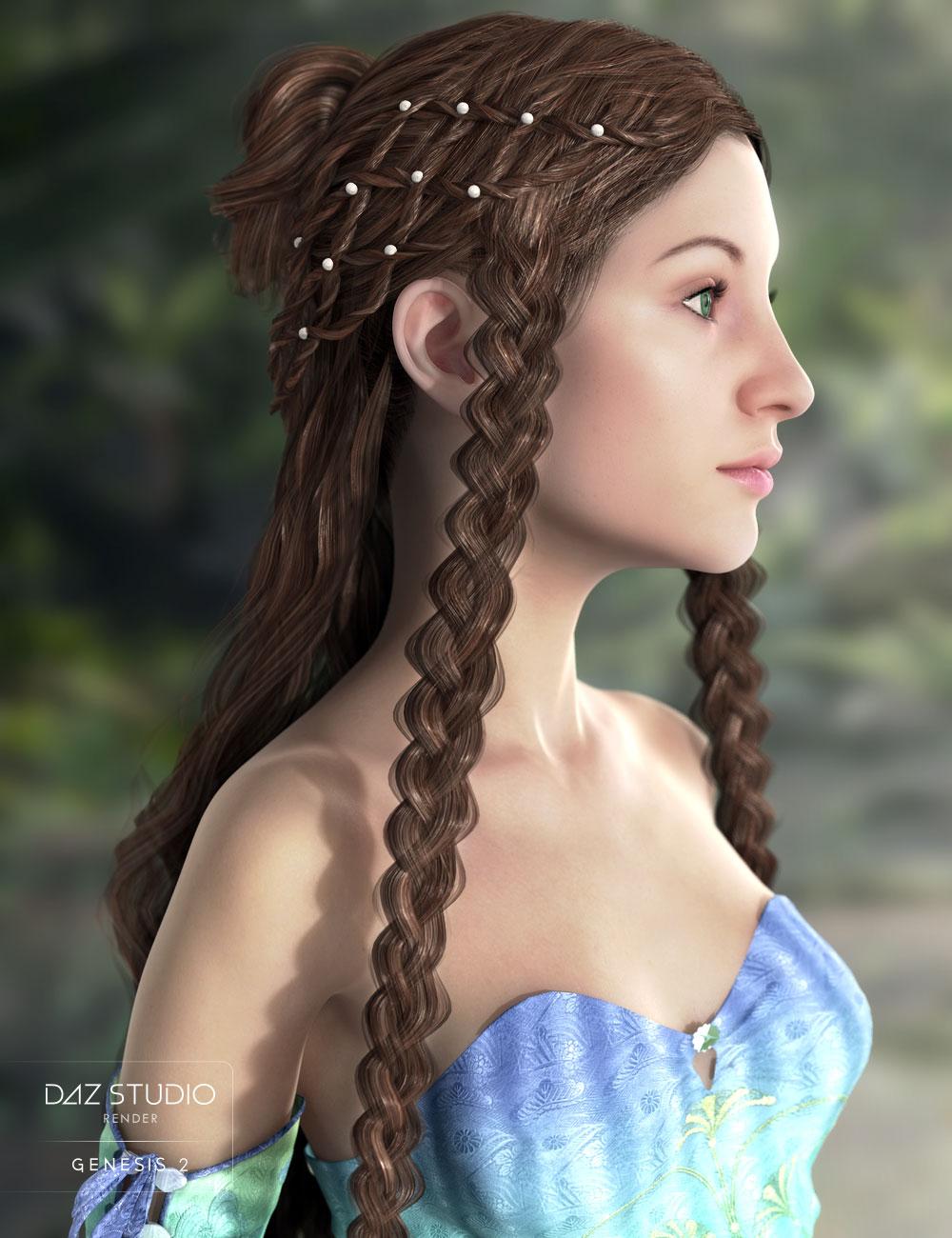 Nimue Hair for Genesis 2 Female(s) by: AprilYSH, 3D Models by Daz 3D