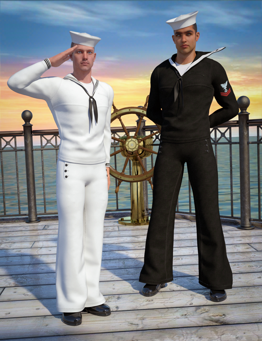 Naval Uniform for Genesis 2 Male(s) by: SloshWerks, 3D Models by Daz 3D