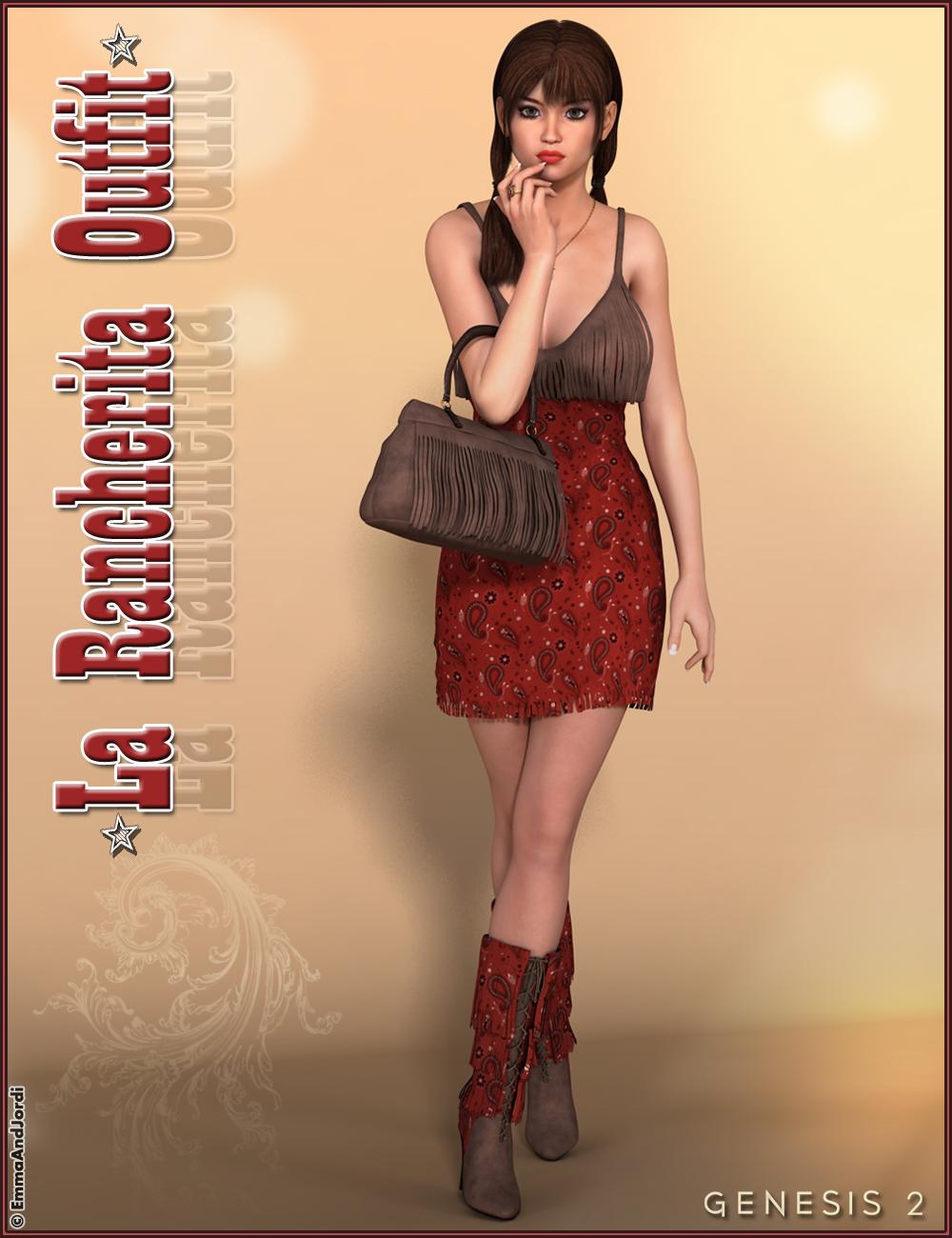 La Rancherita Outfit and Accessories by: EmmaAndJordi, 3D Models by Daz 3D