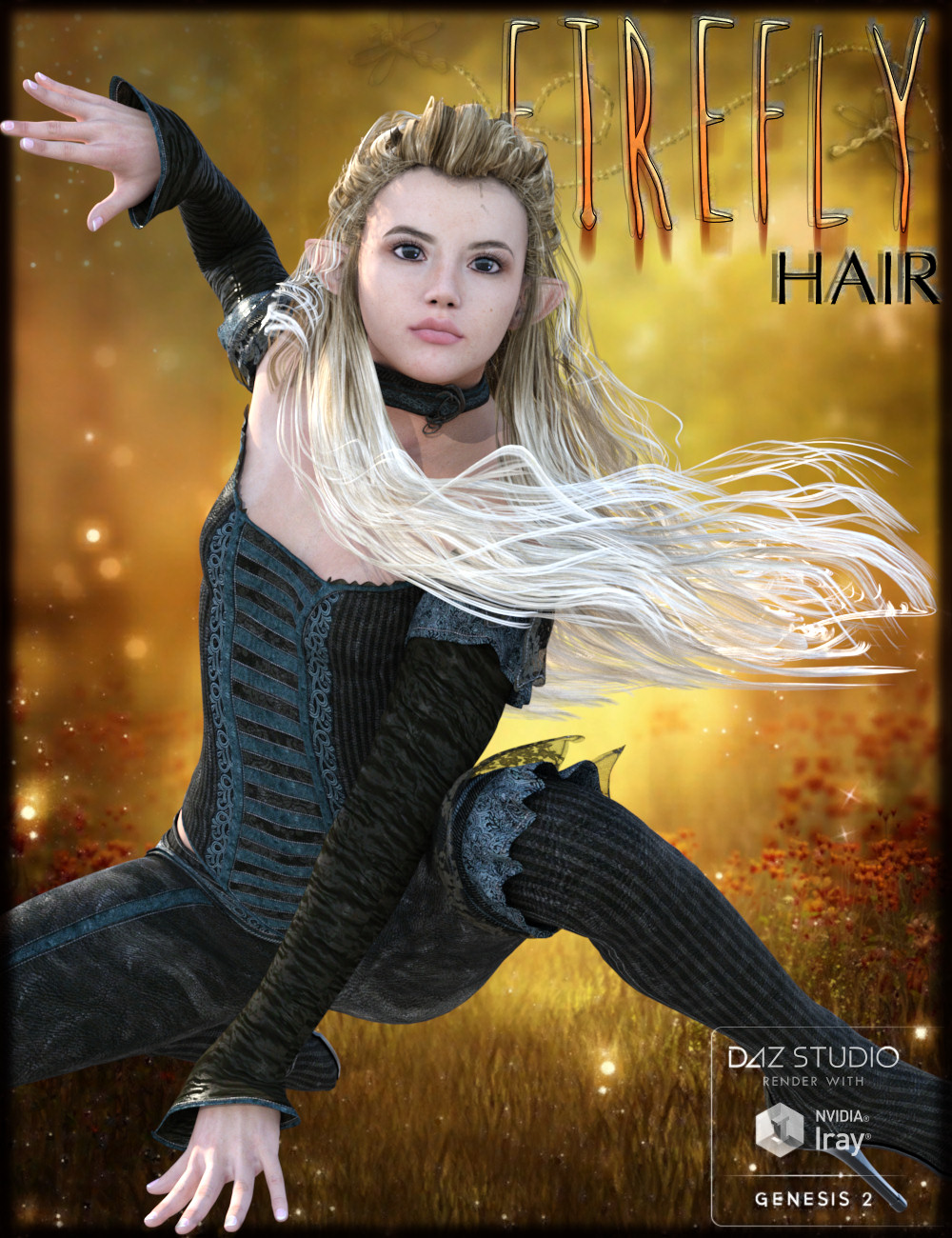 FireFly Hair for Genesis 2 Female(s) and V4 by: goldtassel, 3D Models by Daz 3D