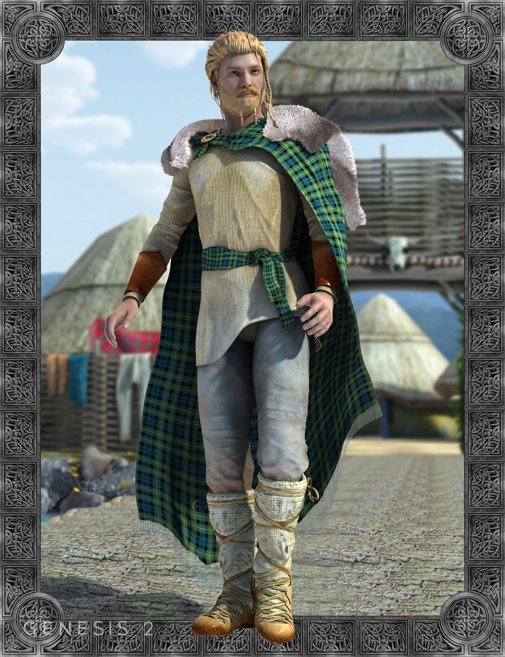 Celtic Fionn Outfit for Genesis 2 Male(s) by: Meshitup, 3D Models by Daz 3D