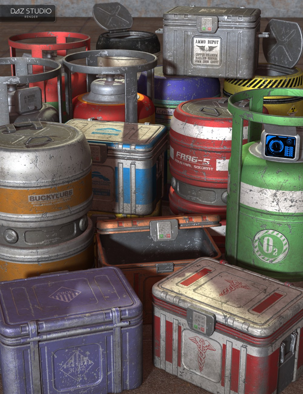 Sci Fi Freight Containers by: Nightshift3D, 3D Models by Daz 3D