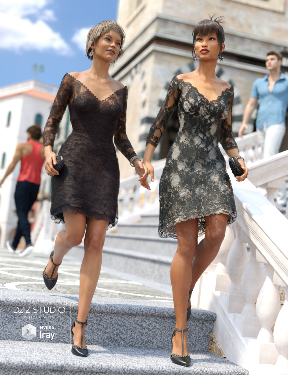 Luxury Lace Cocktail Dress I by: Sarsa, 3D Models by Daz 3D