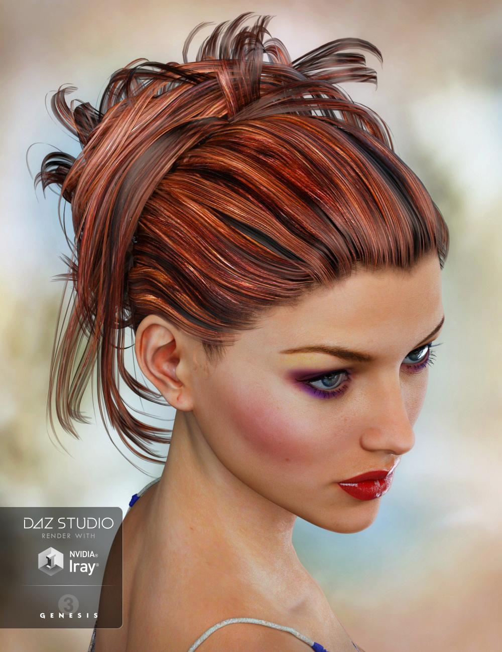 Krayon Hair for Genesis 3 Female(s) by: goldtassel, 3D Models by Daz 3D