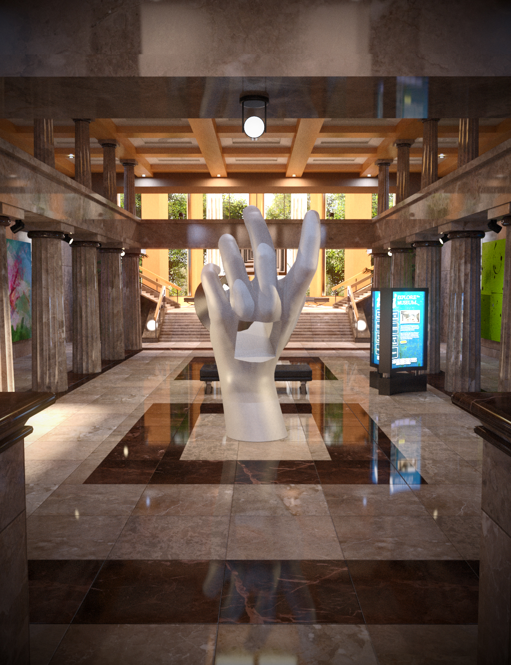 Modern Museum by: DimensionTheory, 3D Models by Daz 3D