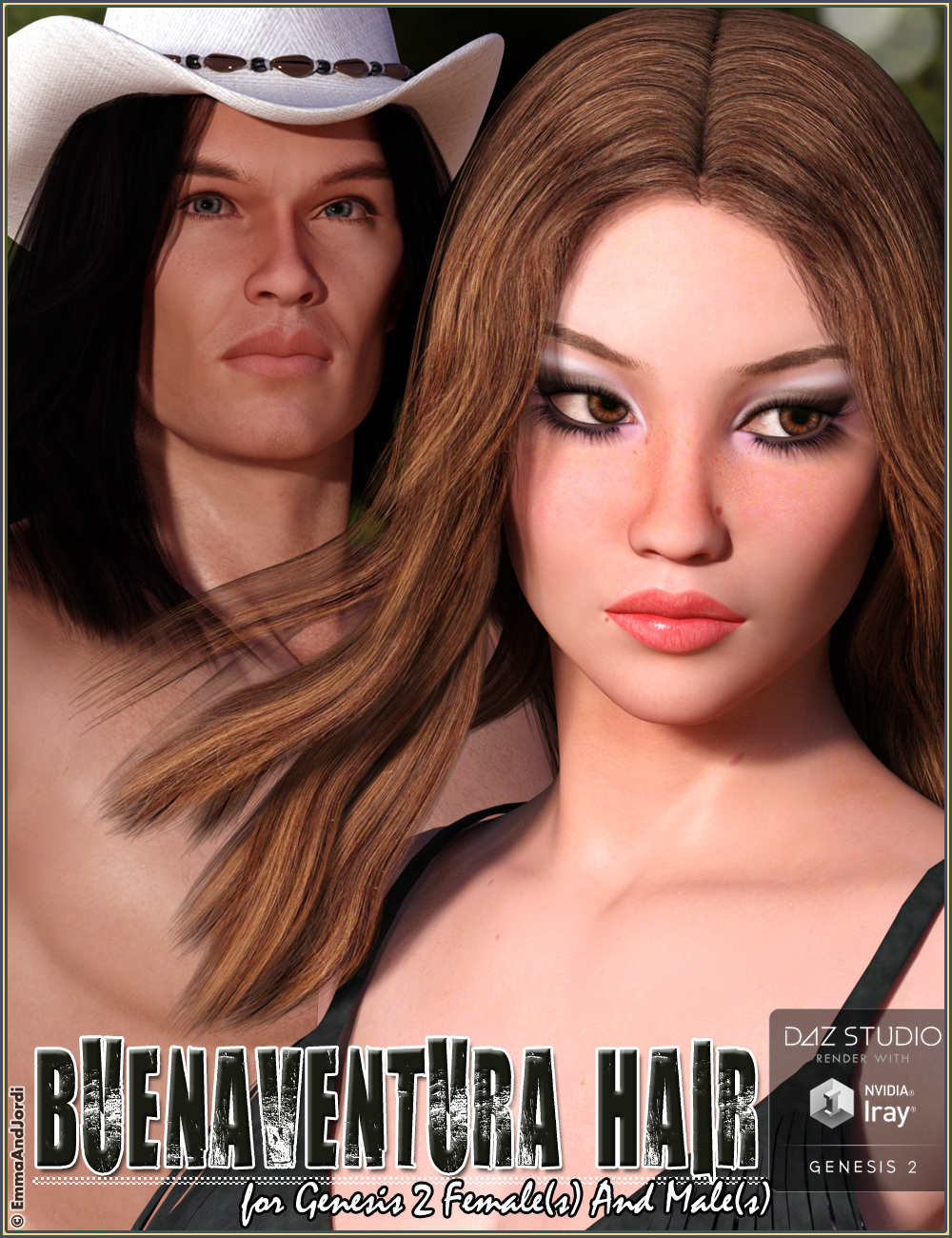 Buenaventura Hair For Genesis 2 Female(s) and Male(s) by: EmmaAndJordi, 3D Models by Daz 3D