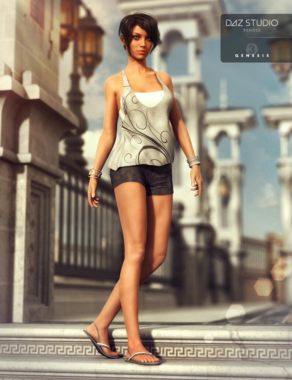Casual Summer for Genesis 3 Female(s) by: Nikisatezesha, 3D Models by Daz 3D