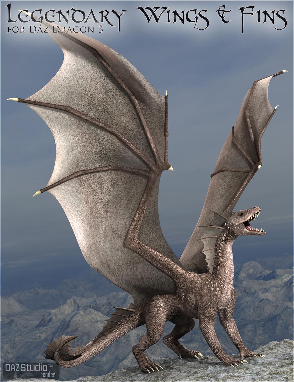 Legendary Wings & Fins HD for DAZ Dragon 3 by: DarioFish, 3D Models by Daz 3D