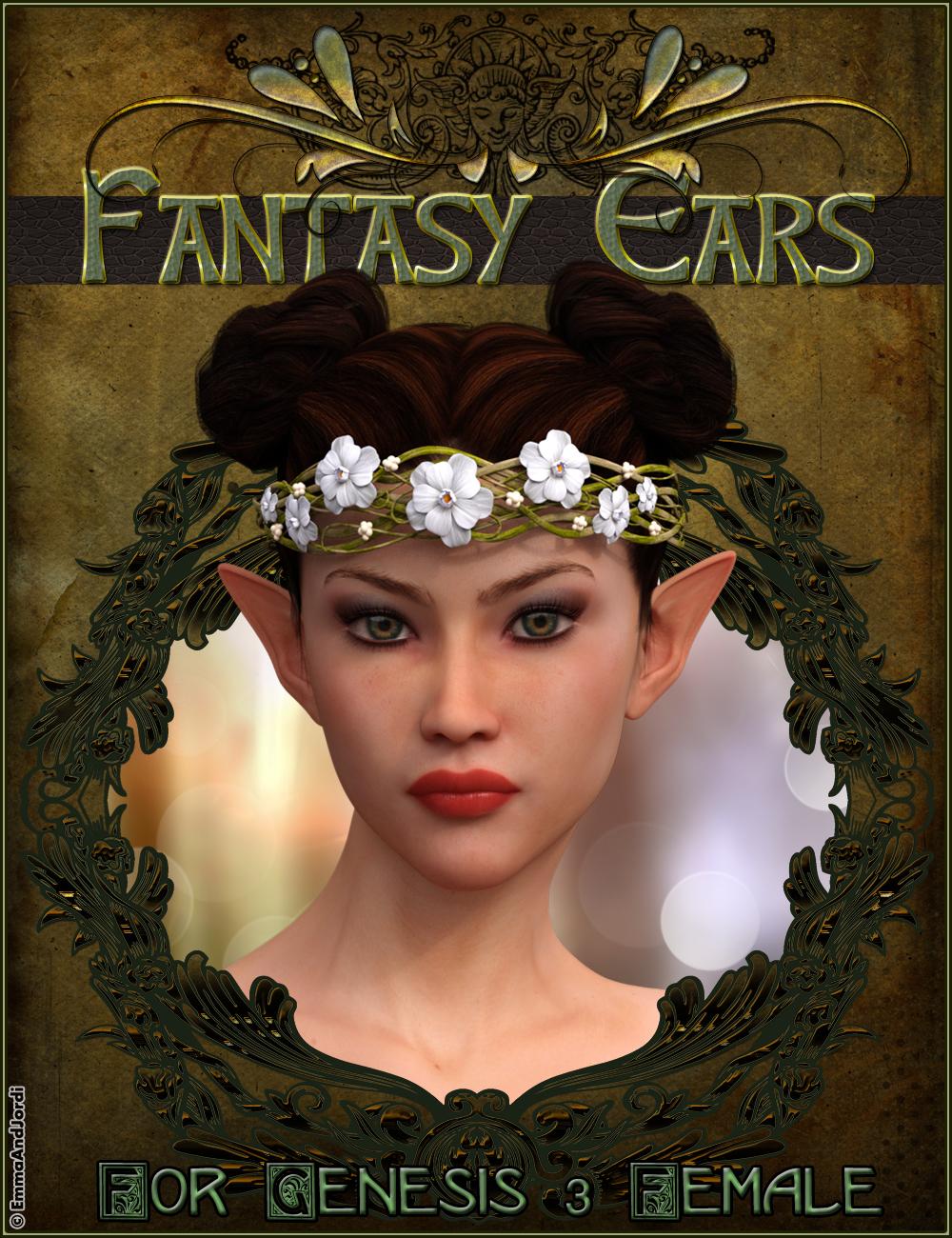 EJ Fantasy Ears for Genesis 3 Female(s) by: EmmaAndJordi, 3D Models by Daz 3D