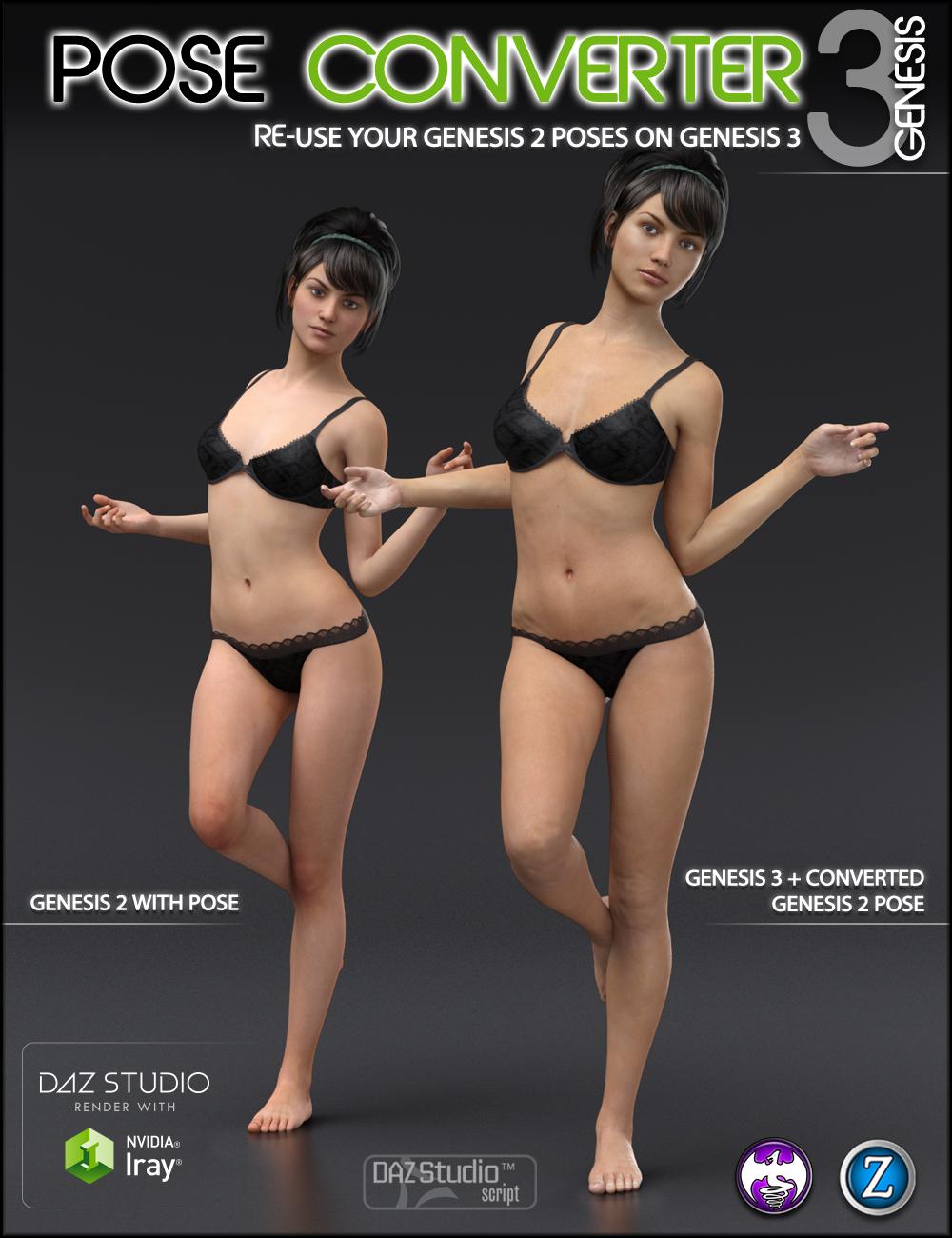 Genesis 2 to Genesis 3 Pose Converter by: DraagonStormZev0, 3D Models by Daz 3D