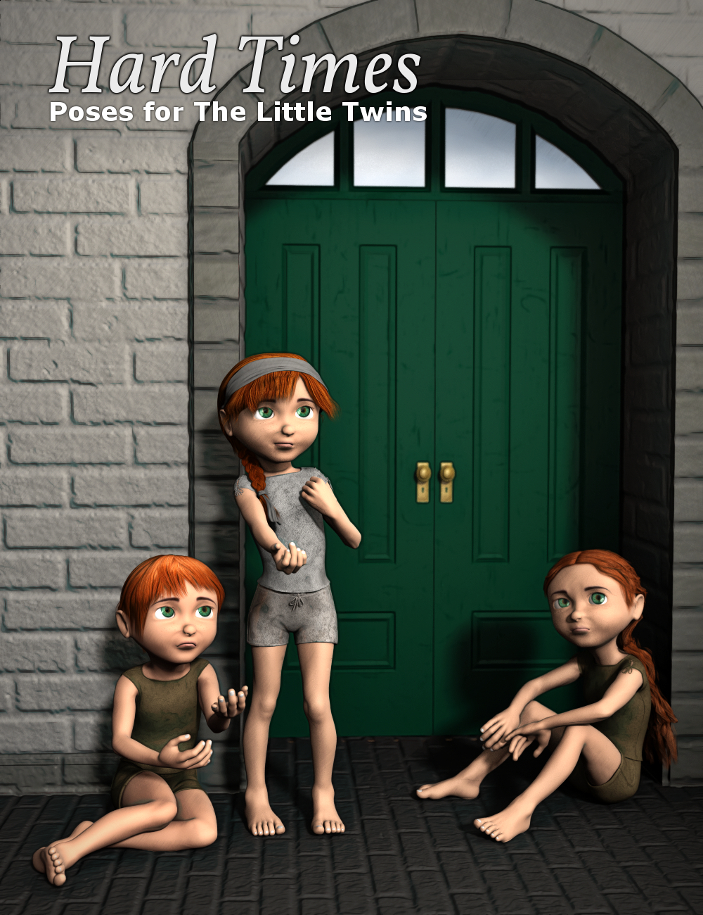 Hard Times - Poses for The Little Twins by: Inkara, 3D Models by Daz 3D