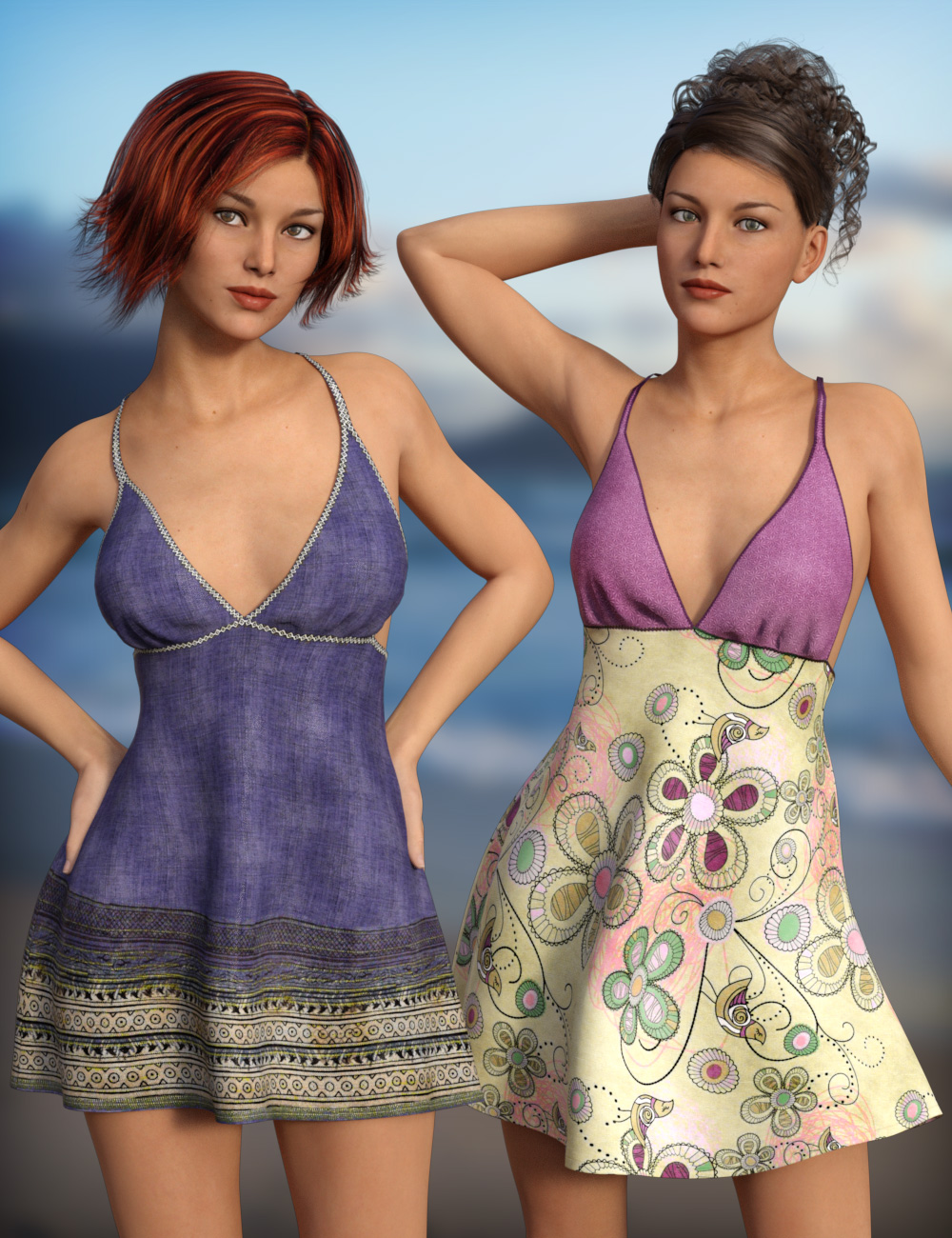 Sun Dress Textures by: esha, 3D Models by Daz 3D