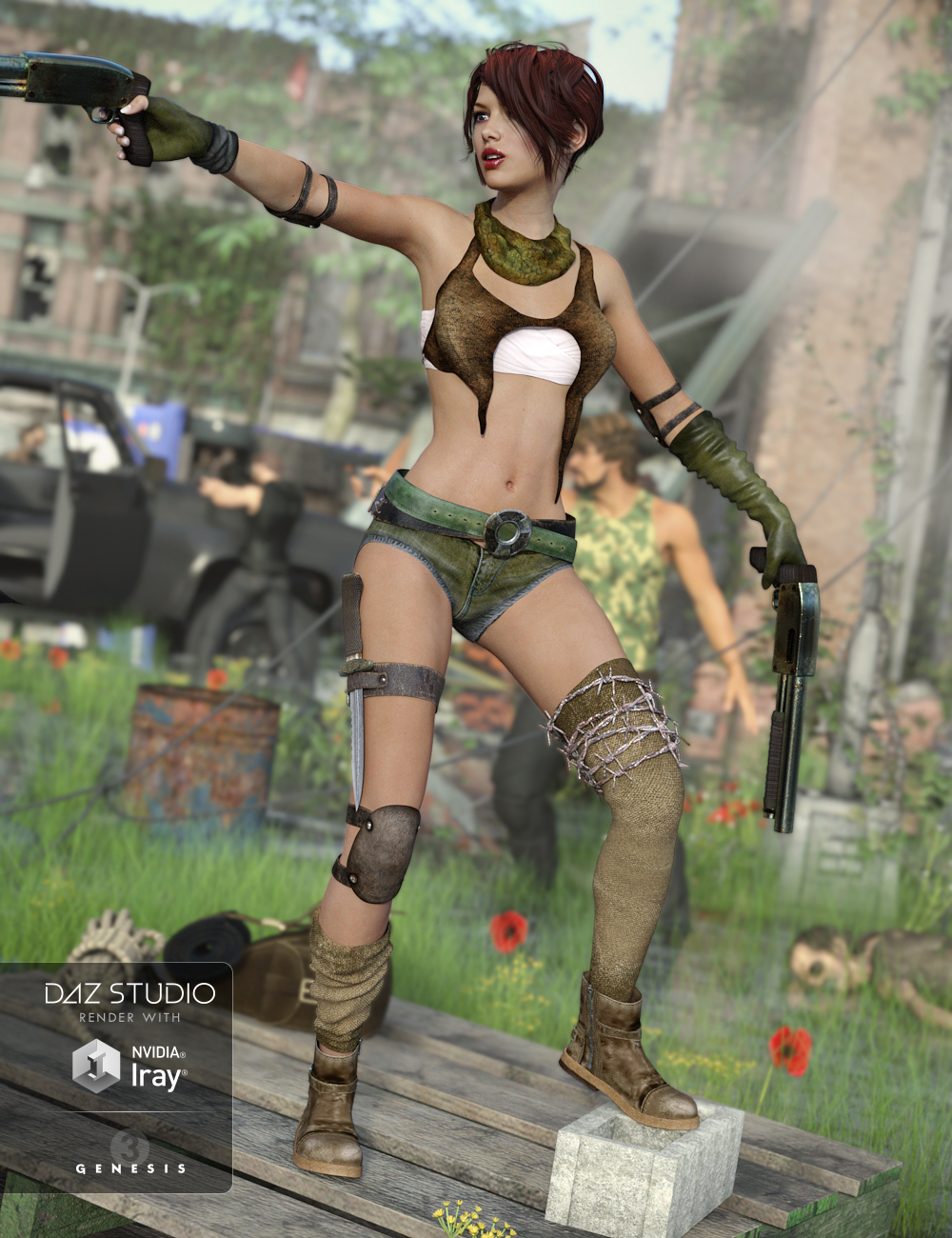 Post Apocalyptic Outfit for Genesis 3 Female(s) by: NikisatezDarkStarBurning, 3D Models by Daz 3D