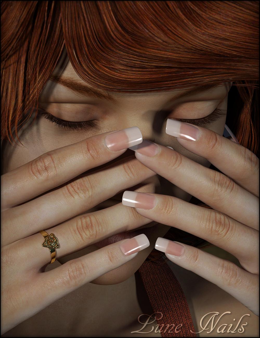 Lune Nails for Genesis 3 Female(s) by: Fisty & DarcFred Winkler ArtSabby, 3D Models by Daz 3D