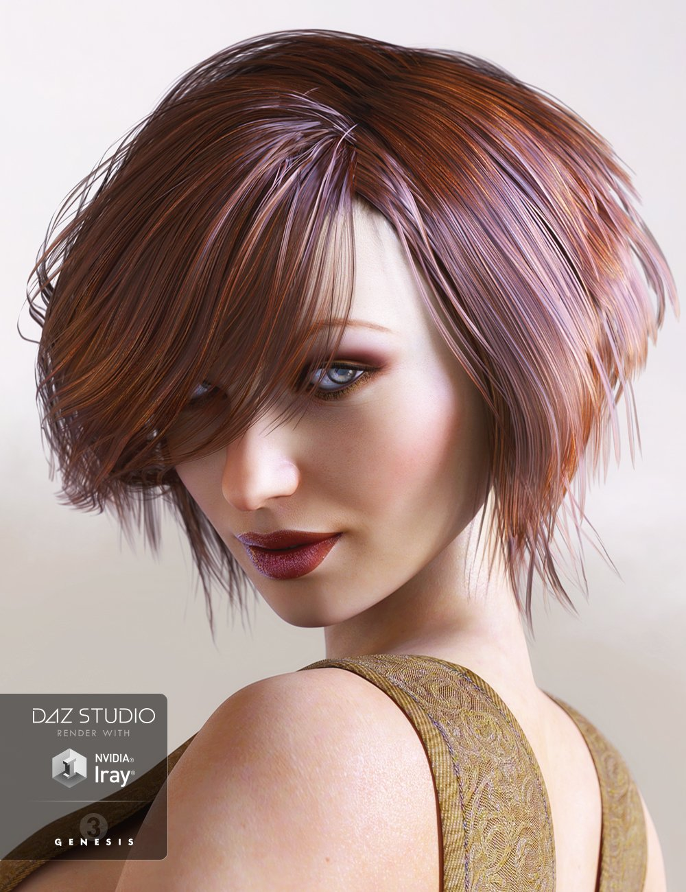 Brady Hair for Genesis 3 Female(s) by: goldtassel, 3D Models by Daz 3D