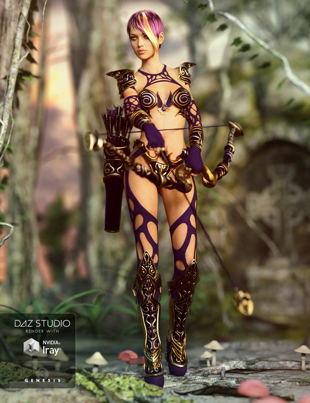 Hunter Queen for Genesis 3 Female(s) by: CharlieOziChick, 3D Models by Daz 3D