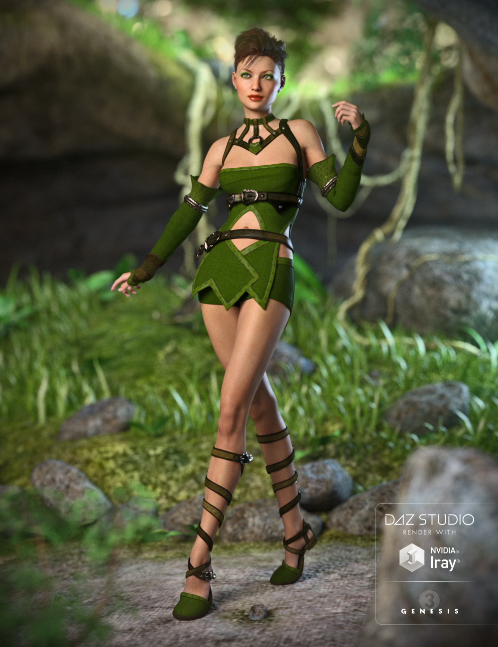 Greenleaf Outfit for Genesis 3 Female(s) by: Anna BenjaminMada, 3D Models by Daz 3D