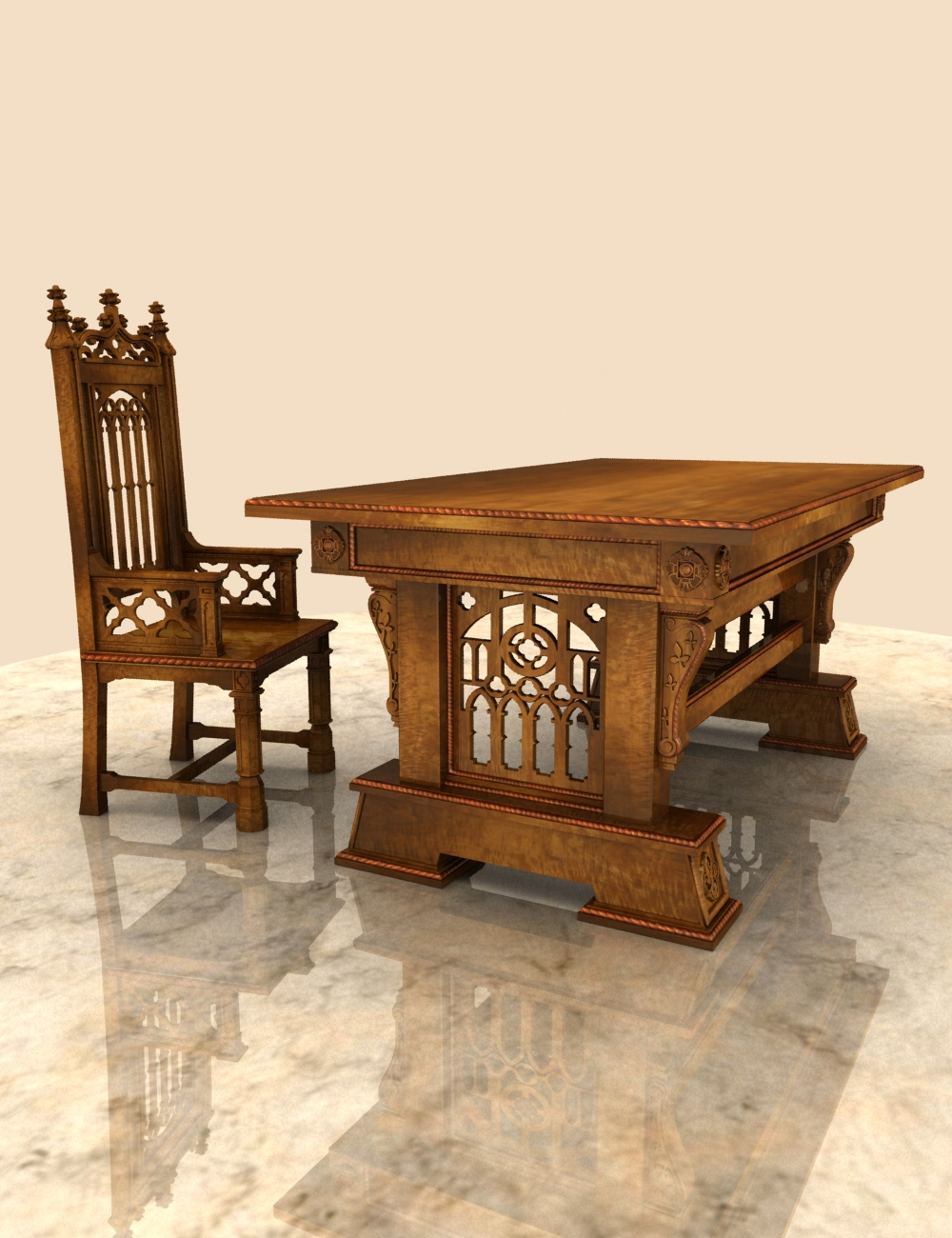 Gothic Desk & Chair by: hypnagogia, 3D Models by Daz 3D