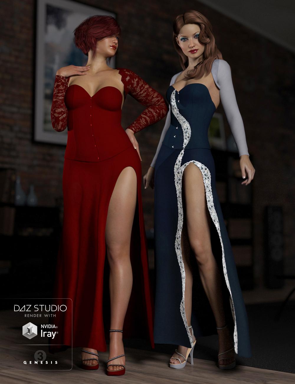 Corset Dress Textures by: Shox-Design, 3D Models by Daz 3D