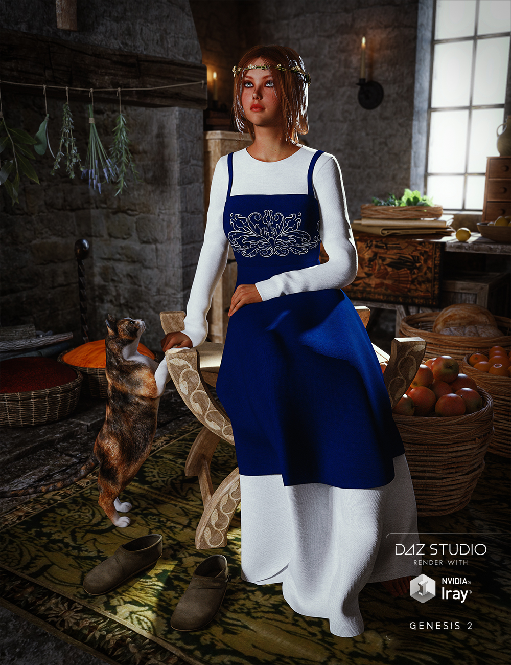 Peasant Dress for Genesis 2 Female(s) by: Mada, 3D Models by Daz 3D