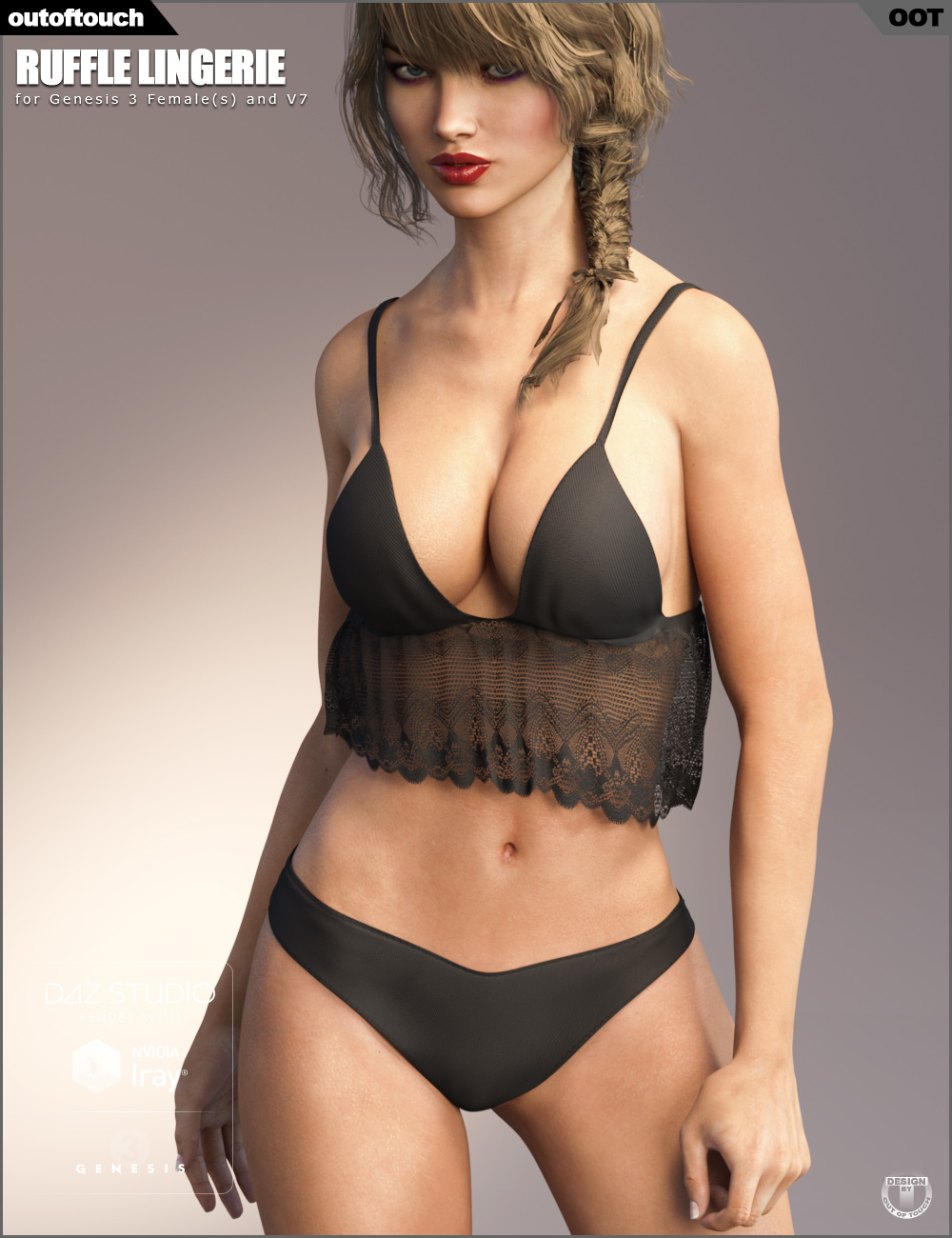 Ruffle Lingerie for Genesis 3 Female(s) by: outoftouch, 3D Models by Daz 3D