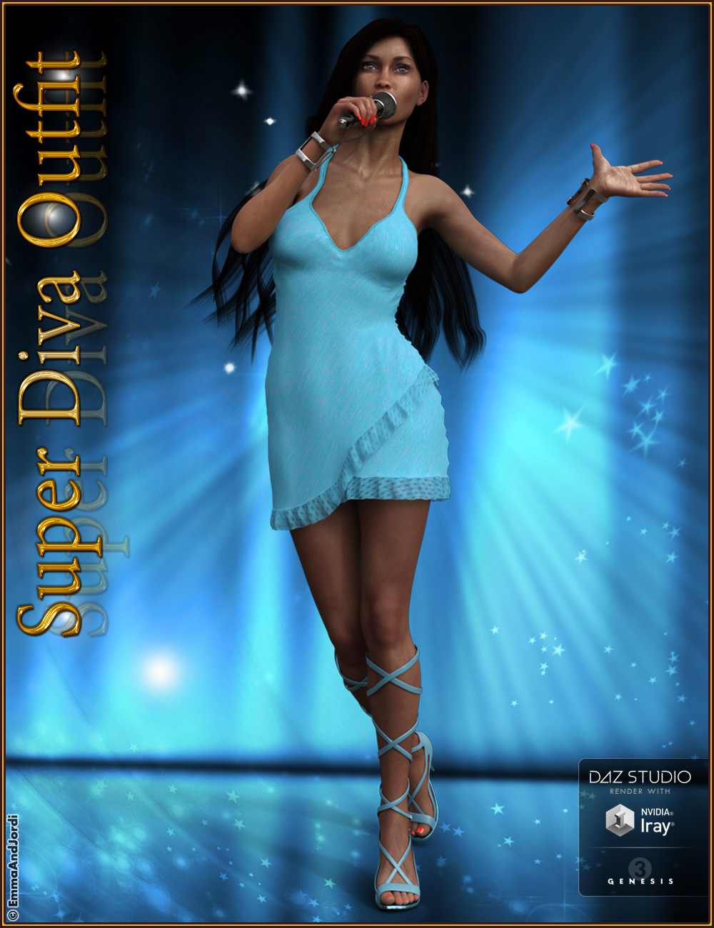 Super Diva Outfit And Accessories for Genesis 3 Female(s) by: EmmaAndJordi, 3D Models by Daz 3D