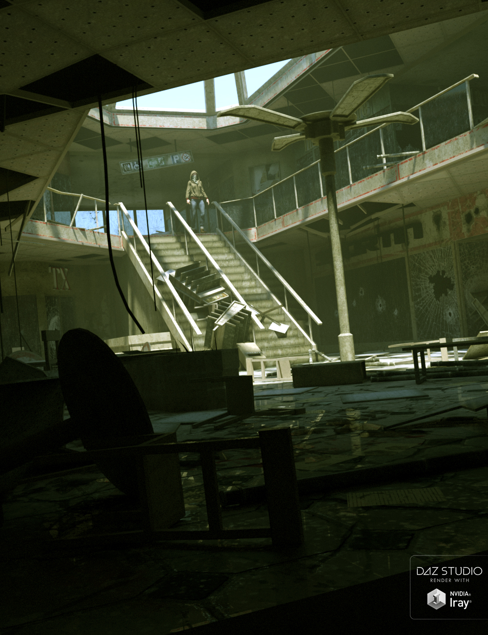 Destroyed Mall by: The DigiVault, 3D Models by Daz 3D