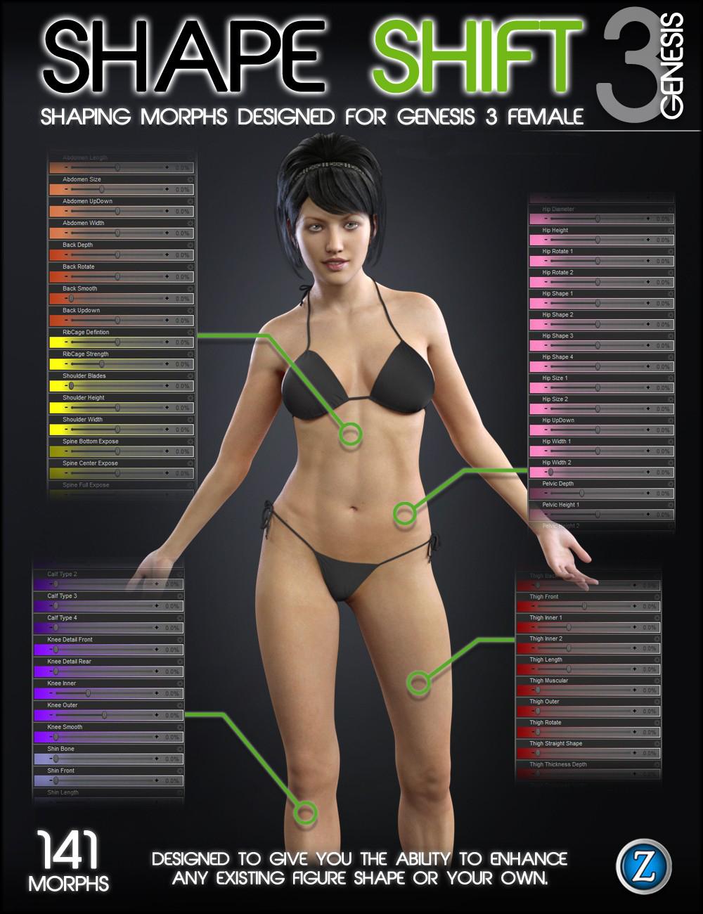 Shape Shift for Genesis 3 Female(s) by: Zev0, 3D Models by Daz 3D