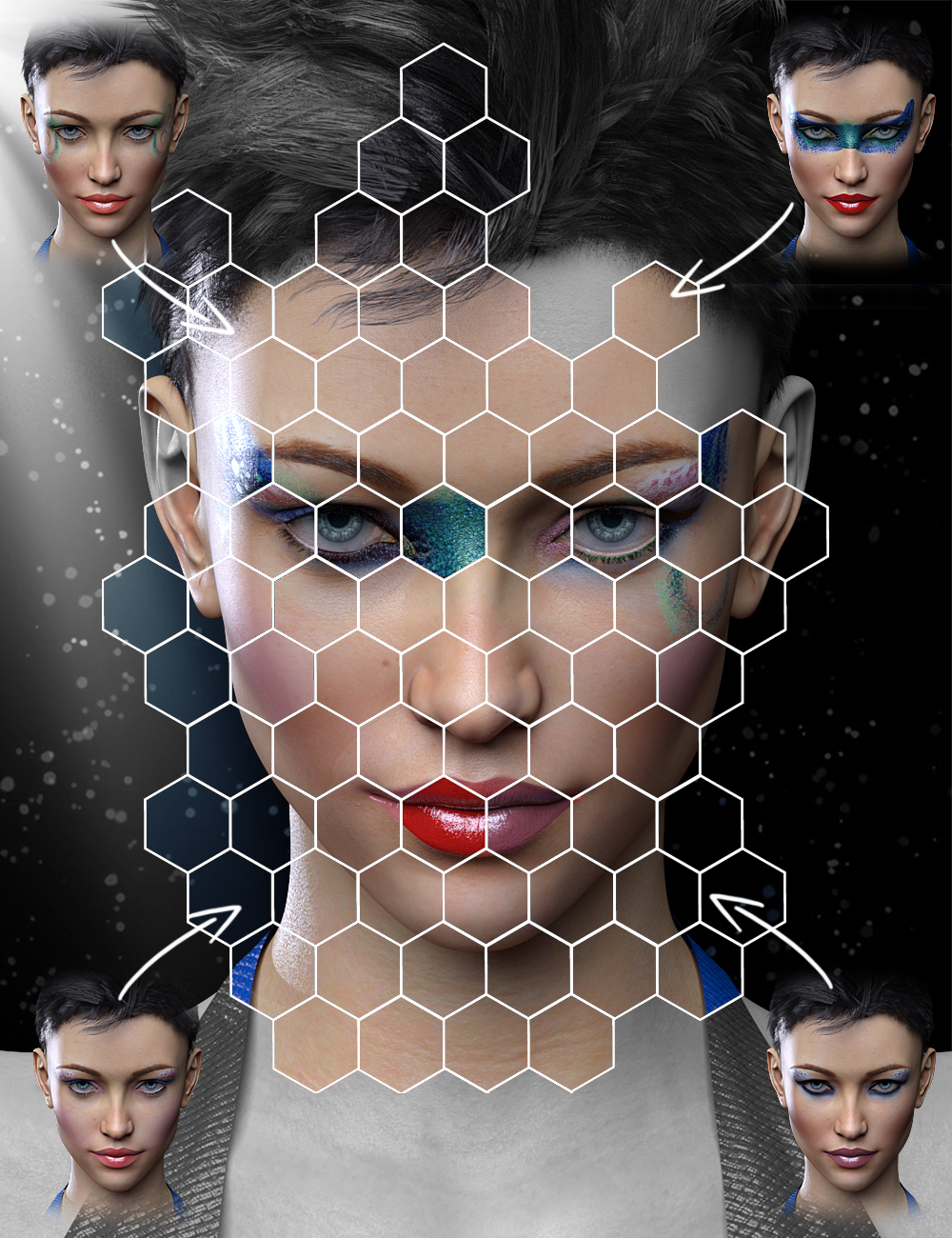 Extreme Closeup: Makeup for Genesis 3 Female(s) by: ForbiddenWhisperschevybabe25, 3D Models by Daz 3D