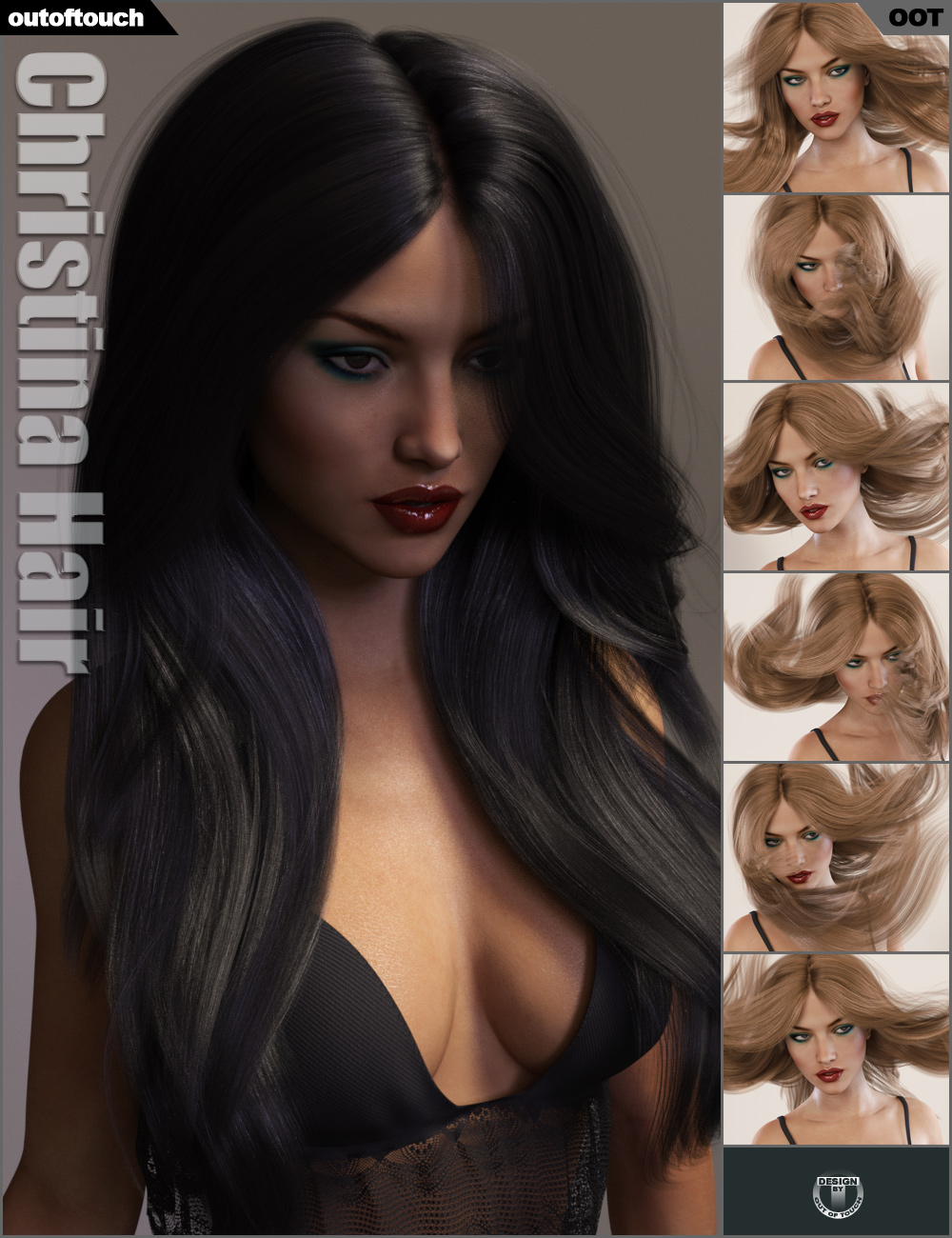 Christina Hair by: outoftouch, 3D Models by Daz 3D