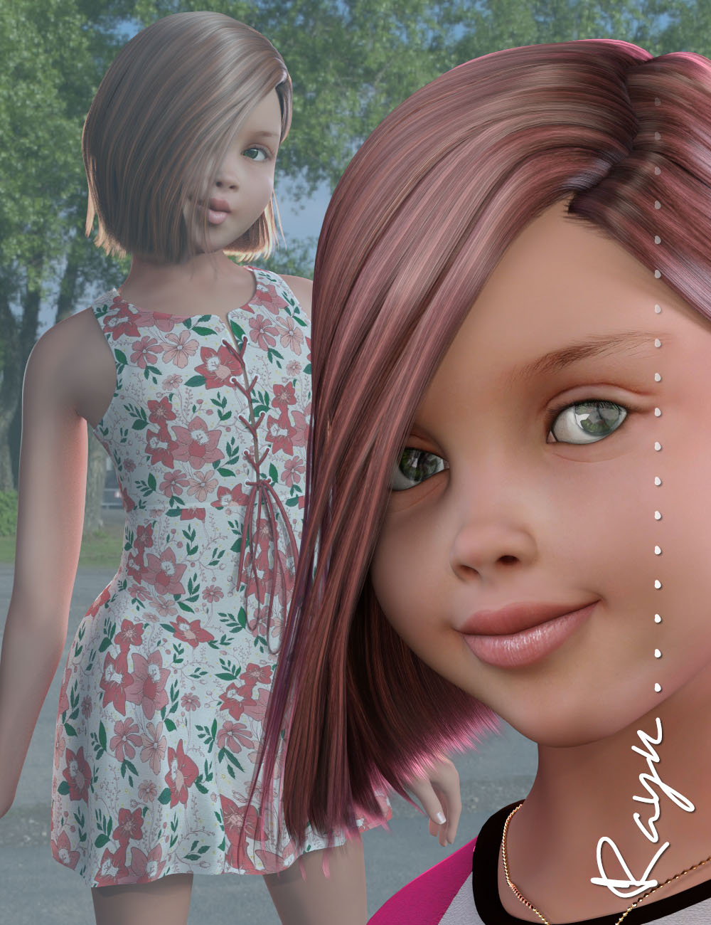 Rayn Character and Hair for Genesis 3 Female(s) by: 3D Universe, 3D Models by Daz 3D