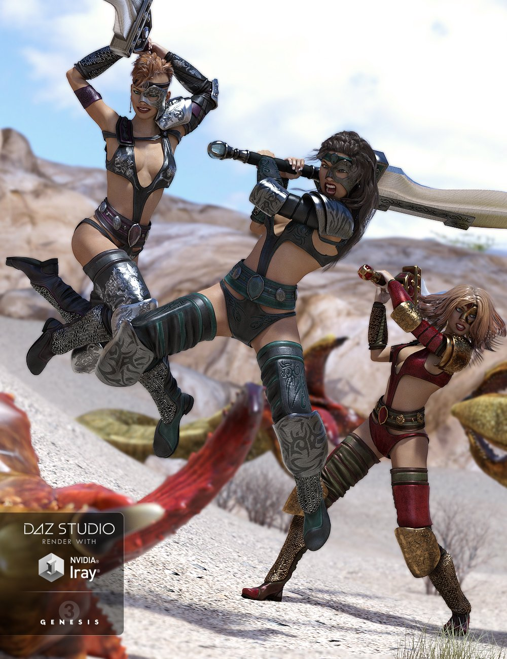 Battle! - 2H Sword Poses by: Daz OriginalsVal3dart, 3D Models by Daz 3D